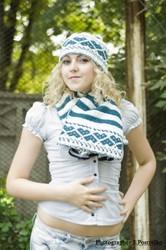 Вязаная шапочка и шарф,  зимний комплект