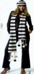 Шапка и шарф,  черно-белый комплект