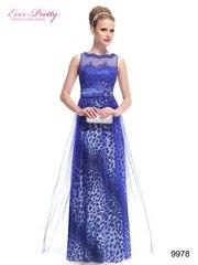 Стильное синее вечернее платье.