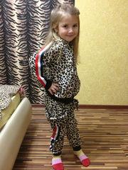 Леопардовый теплый велюровый костюмчик для девчонок и мальчишек
