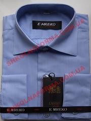 Рубашка для мальчика темно-голубая гладкая с длинным рукавом Emreko