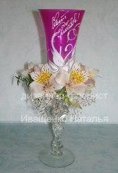 Свадебные бокалы оформление цветами