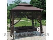 Садовые качели коричневые раскладные с крышей