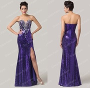 Фиолетовое выпускное платье в пол блестящее
