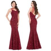 Блестящее вечернее платье цвета бургунди