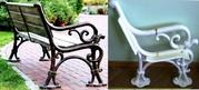 Скамейки для дачи,  столы на литой раме,  дачные ограды литые из металла