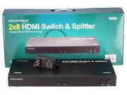 Матричный коммутатор HDMI 2х8,  свитч и сплиттер