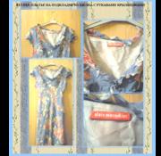 Летнее платье с рукавами-крылышками,  в рисунок,  на подкладке из шелка
