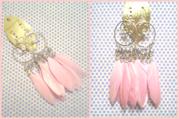 Длинные серьги из перьев,  со стразами,  розового цвета