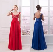 Вечернее платье с рукавами тёмно-синее