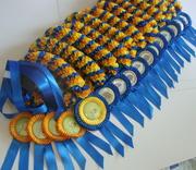 Наградные розетки, риббоны, значки для выставок, соревнований.