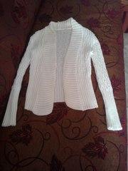 Кофта,  S(44),  белая,  длинный рукав,  вязанная