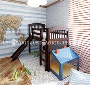 Детская кровать Снежок с горкой из натурального дерева