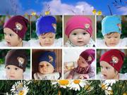 Трикотажная шапка для детей,  Медвежонок