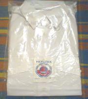 Белая женская рубашка с длинным рукавом,  хлопок