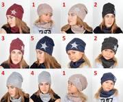 Комплект шапка и хомут для детей и подростков,  осень,  зима,  модель 033