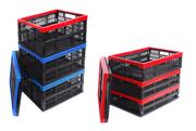 Пластмассовые складные ящики для пищевых продуктов разных размеров.